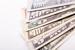 Row of US hundred dollar banknotes closeup stock image