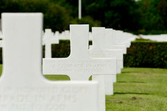Row of US Military gravestones for Unknown Soldier Stock Photo