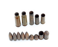 Row of used bullets. Against a white background Stock Image
