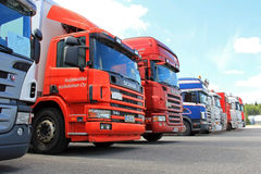 Row of Used Scania Trucks Stock Image