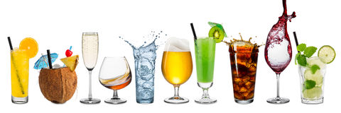 Row of various beverages Royalty Free Stock Photos