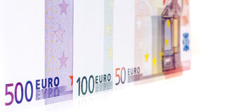 Row of various euro notes Royalty Free Stock Photography