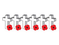 Row of Crosses with Poppies. Row of vector crosses with red poppy Royalty Free Stock Photo