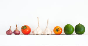 Row of vegetable isolated Stock Photo