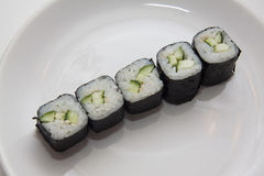 Row of  vegetarian maki Royalty Free Stock Photo