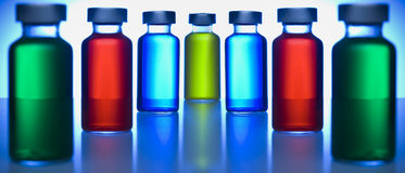 Row of vials Stock Photo