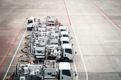 Row of viation refueling truck Jet A1 for airplane,  Aviation. Fuel Services Stock Photography
