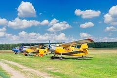 Row of vintage airplanes Stock Photo
