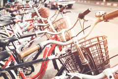 Row of a vintage bicycle for rent in the city street Royalty Free Stock Photo