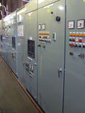 Row of Vintage control cabinets Stock Photo