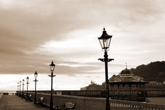 Row of vintage lamps in sepia Stock Images