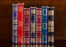Row of vintage leather books Royalty Free Stock Photo