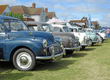 Row of vintage morris minors Royalty Free Stock Photo