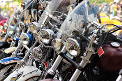 Row of vintage motorbikes Royalty Free Stock Photo