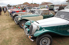 Row of vintage panther cars. Photo of vintage panther sports cars on display at whitstable car show outdoor venue on 21st august 2016 ideal for old cars and Royalty Free Stock Images