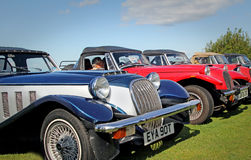 Row of vintage panther cars. Photo of row of vintage panther sports cars showing at the whitstable car show on august 17th 2014.photo ideal for vintage cars Royalty Free Stock Photos