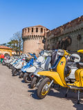 Row of vintage scooters Stock Photo