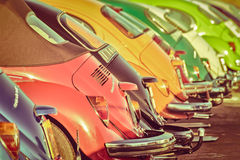 Row of vintage Volkswagen Beetles from the seventies Royalty Free Stock Image