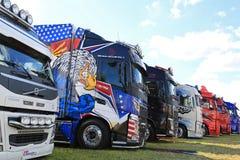 Row of Volvo Show Trucks Royalty Free Stock Photography