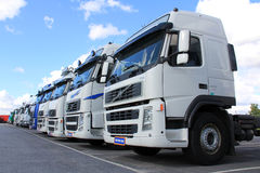 Row of Volvo Trucks Royalty Free Stock Images