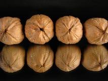 Row of Walnuts Royalty Free Stock Photos
