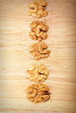 Row of walnuts above view Royalty Free Stock Photos