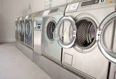 Row of washing machines Stock Images