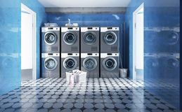 Row of washing machines with laundry in a basket. 3d render stock illustration
