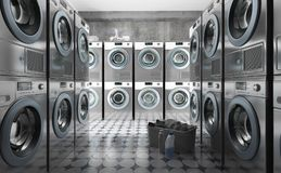 Row of washing machines with laundry in a basket. 3d render vector illustration