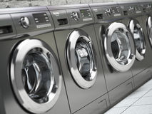 Row of washing machines in a public laundromat. 3d illustration royalty free illustration