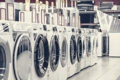 Washing mashines in appliance store royalty free stock image