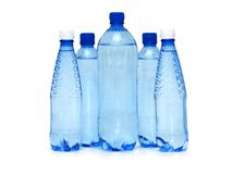 Row of water bottle isolated on the white Royalty Free Stock Image