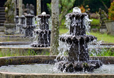 Row of water fountains at Tirtagangga Water Temple Stock Photography