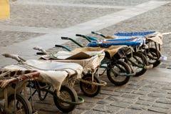 Row of wheelbarrows Stock Photo