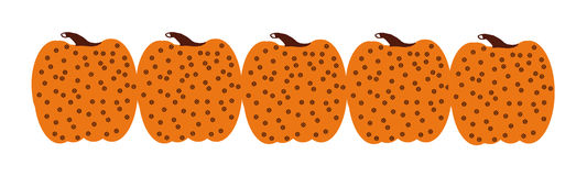 Row of whimsical pumpkins Stock Photo