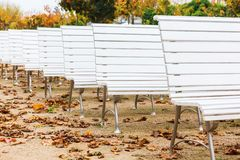 Row of white benches at an outdoor event Stock Photos