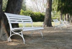Row of white benches. Row of several white benches Royalty Free Stock Photos
