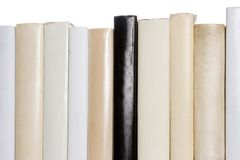 Row of white books with one black book Royalty Free Stock Photo