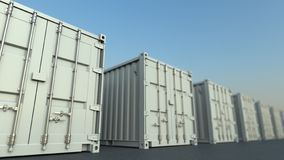 Row of white cargo containers, 3D rendering stock photography