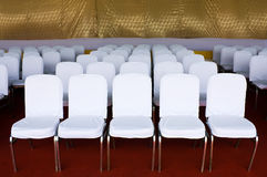 Row of white chair Royalty Free Stock Images