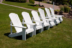 Row of White Chairs Royalty Free Stock Images