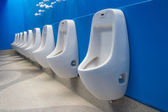 Row of white clean urinals in public restroom Stock Images