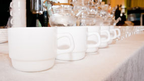 Row of white cups Royalty Free Stock Photo