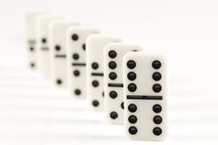 Row of white dominoes Royalty Free Stock Photo