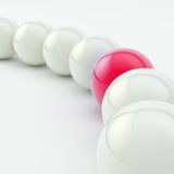 Row of white ones and red glossy spheres Royalty Free Stock Photo