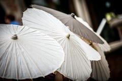 Row of White Parasols Stock Photography