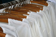 Row of white shirts Royalty Free Stock Photo