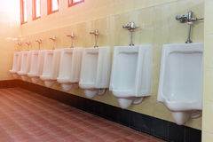 Row white urinals in men's bathroom Royalty Free Stock Photos