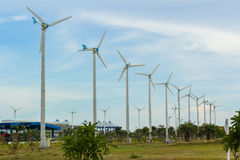 Row of wind turbine Royalty Free Stock Photos
