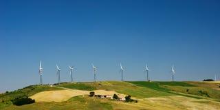 Row of wind turbines Stock Photography